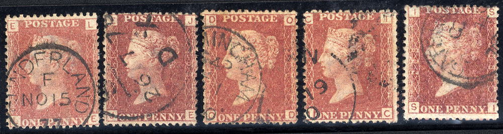1858-79 1d red Plates, VFU examples from Plates 192, 203, 206, 207 & 208, SG.43/4.