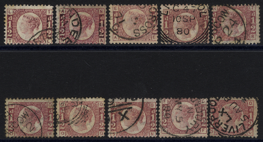 1870 ½d rose red (SG.48/49) range of ten different Plates all with fine c.d.s. cancels. Scarce. Cat. £525++++