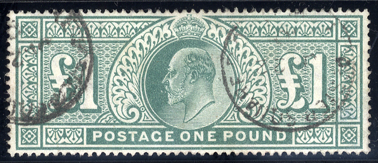 1902 £1 dull blue green, VFU example, SG.266