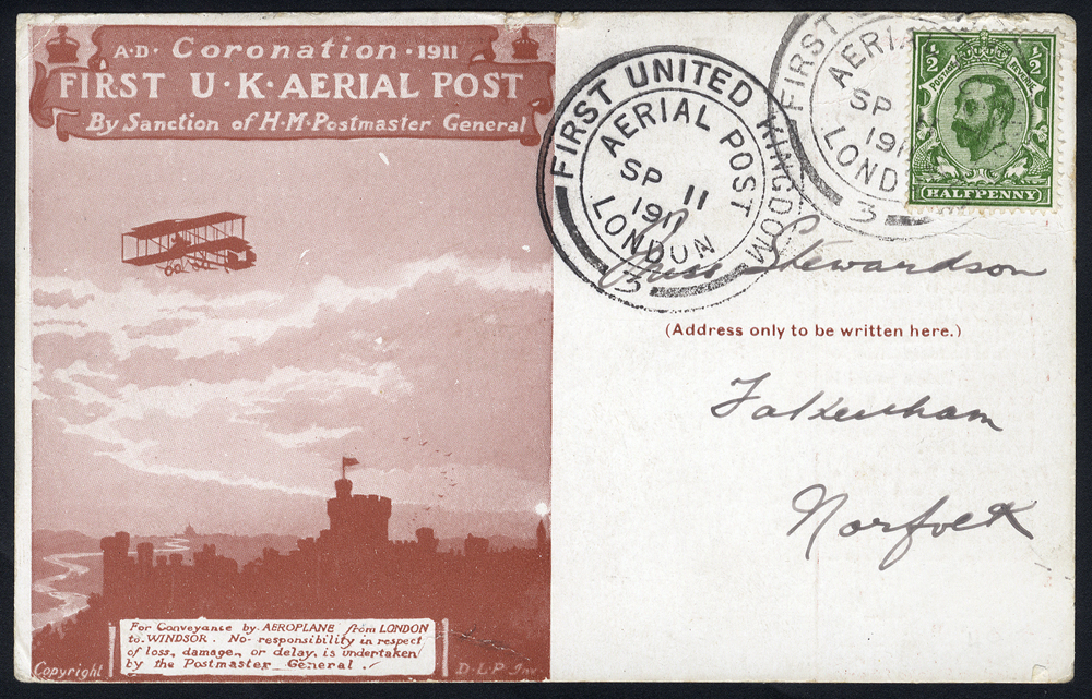 1911 Coronation first UK Aerial Post, Hendon - Windsor flown red brown card Sep.11.1911.