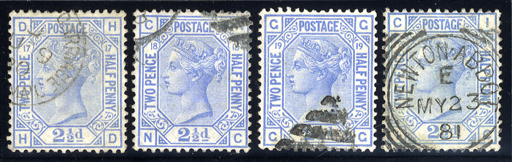 1880 2½d blue, VFU set of Plates 17-20, SG.142, Cat. £240++