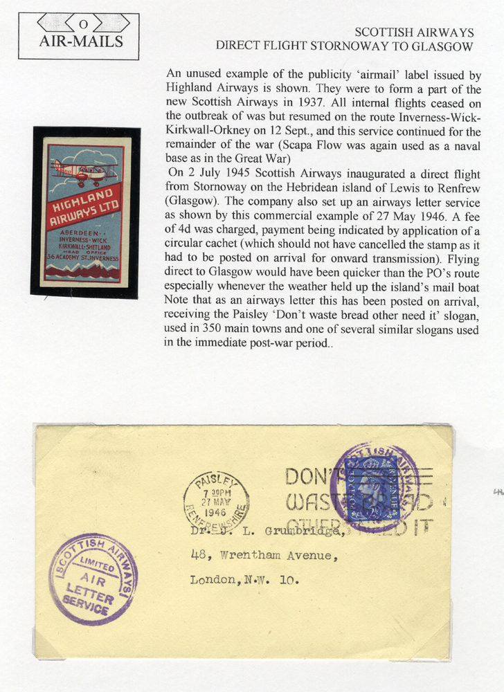 1946 May 27th Scottish Airways flight Stornoway - Glasgow Air Letter Service flown cacheted cover, Highland Airways vignette