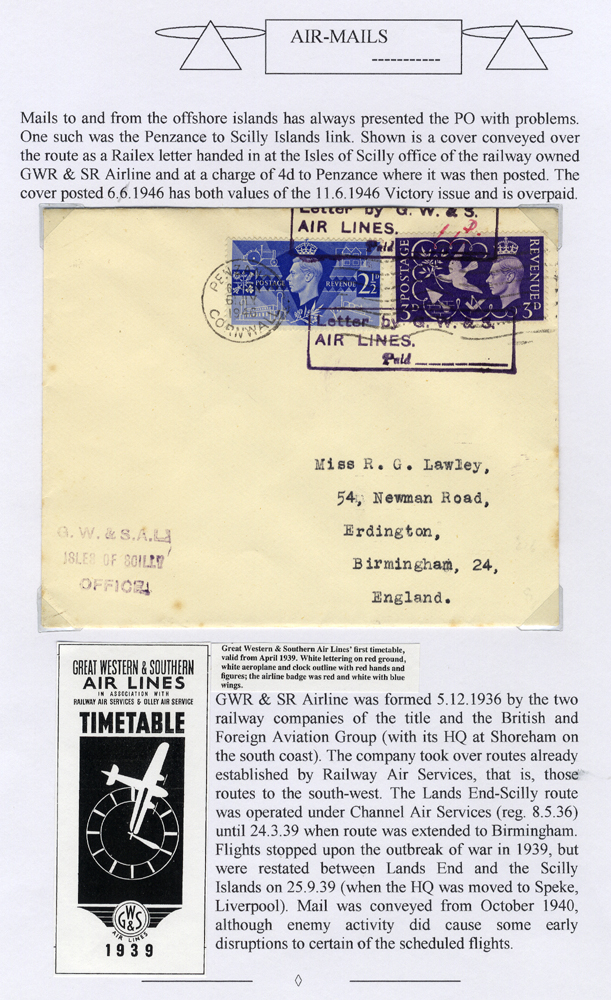 1946 July 6th GWR & SR flight cover, Scilly Isles - Penzance, Victory set tied 4d Air Letter cachet