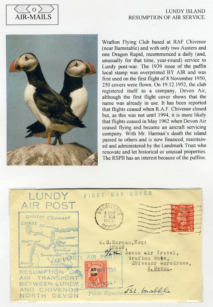 1950 Nov 8th Devon Air first flight cover Barnstaple - Lundy, franked 1d defin + Lundy Puffin (pilot signed)