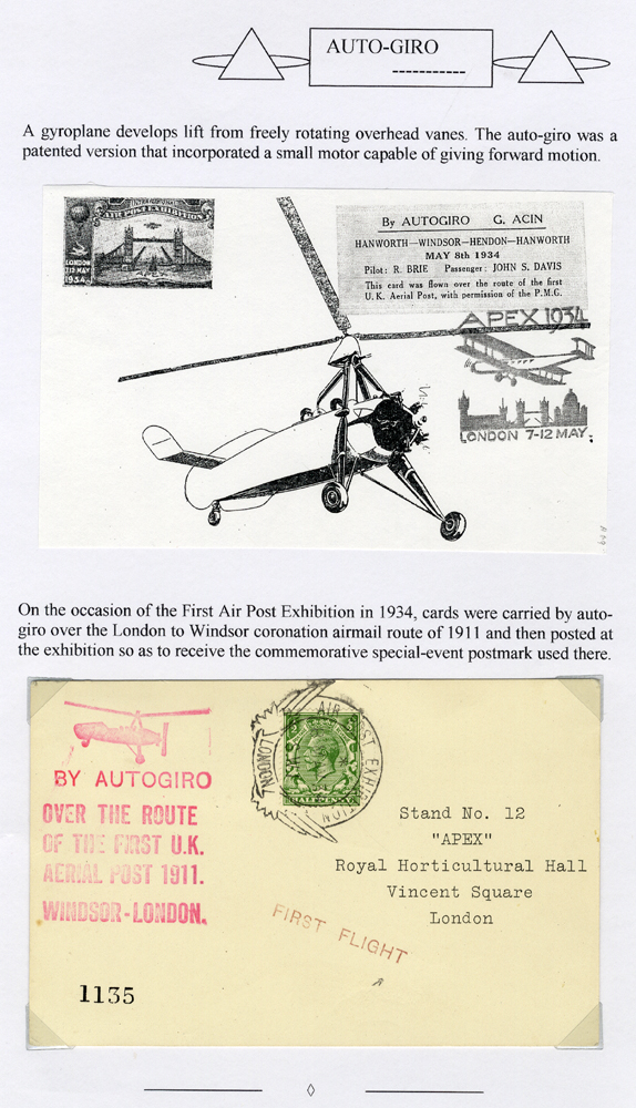 1934 May 8th First Air Post Exhibition Auto Giro flow card, London to Windsor Coronation route of 1911