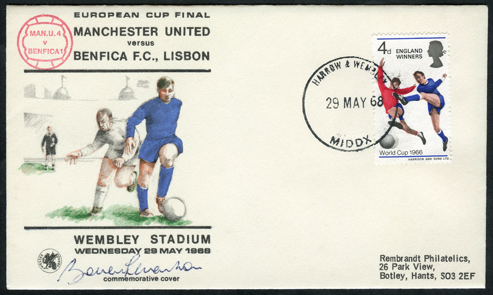 BOBBY CHARLTON signature on Manchester United 1968 European Cup Final illustrated commemorative cover