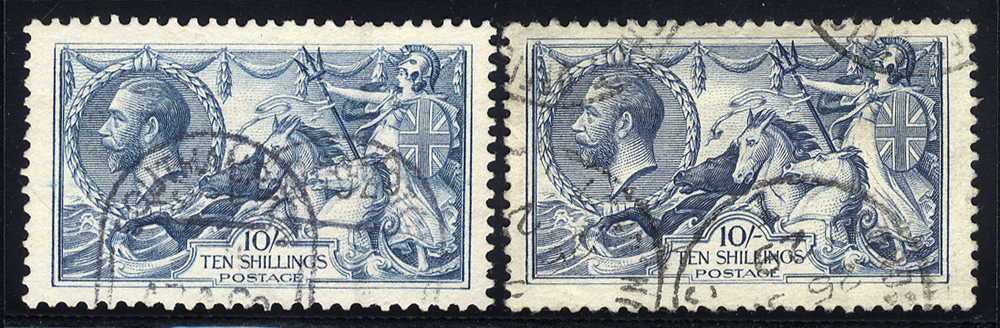 1918 Bradbury 10s, two distinctive shades - both fine used, SG.417