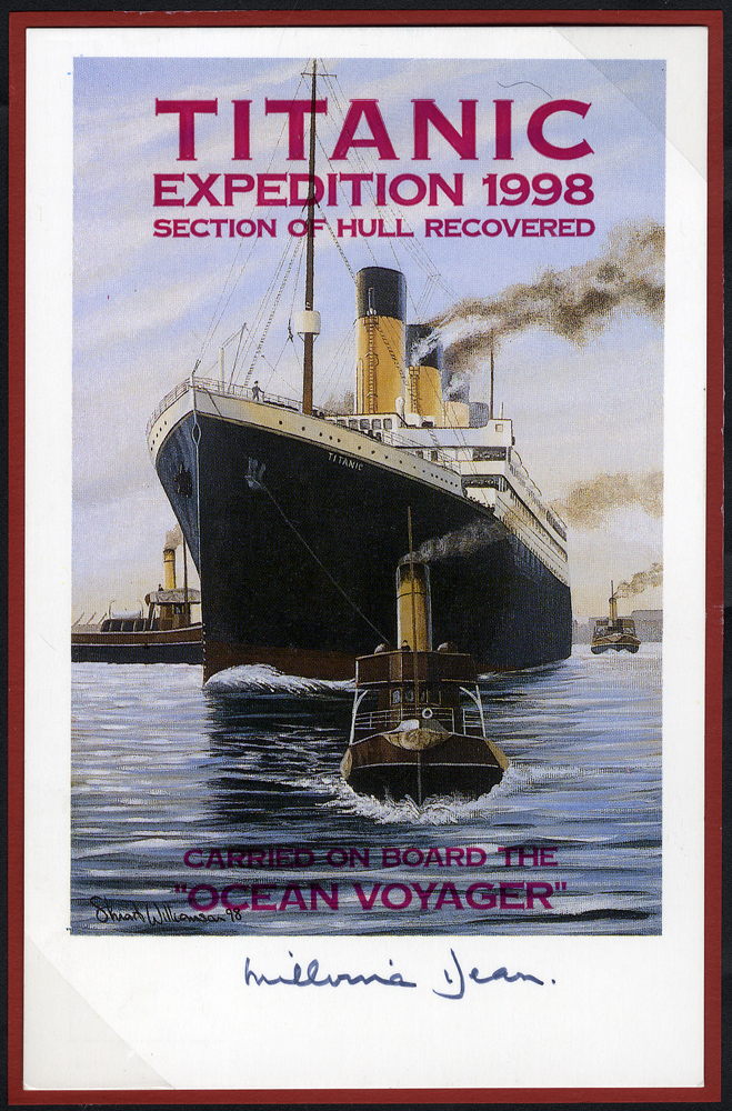 TITANIC modern PPC's (3) signed by Millvena Dean, Mrs Margaret Howman & Commander A. T. Lightoller RN