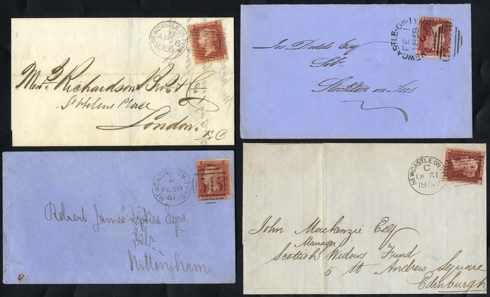 1858-61 four covers franked 1d Stars, Newcastle on Tyne '545' duplex - sideways & upright types