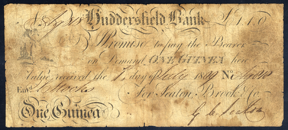 Huddersfield Bank 1 guinea, dated 1809, No. Ag818 for Seaton, Brook & Co, Outing 1001b, stained, VG.