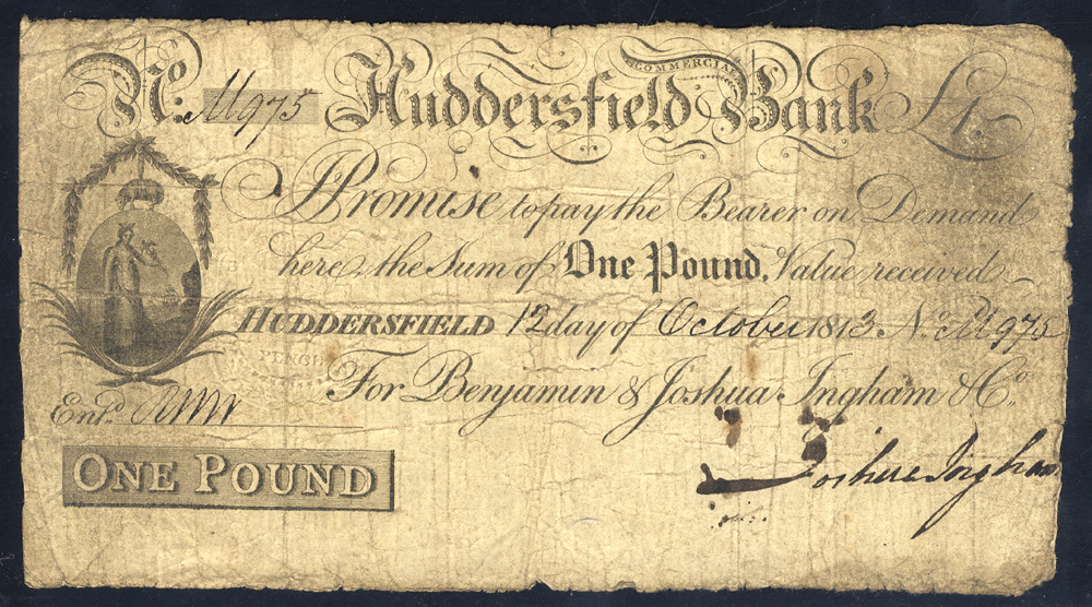 Huddersfield Commercial Bank £1, dated 1813, No. M975 for Benjamin & Joshua Ingham & Co, Outing 1004b, almost fine.