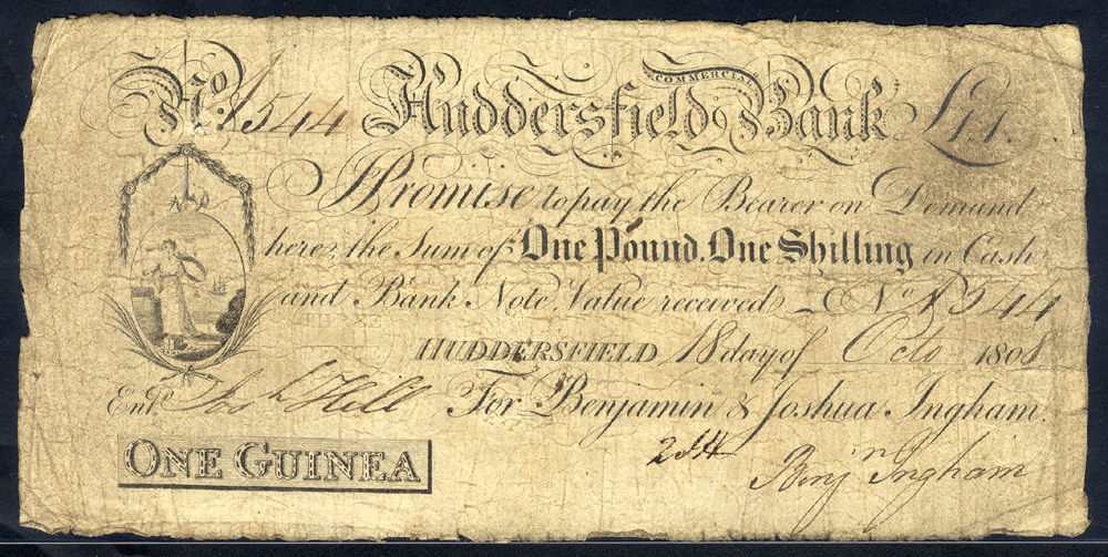 Huddersfield Commercial Bank 1 guinea, dated 1808, No. A544 for Benjamin & Joshua Ingham