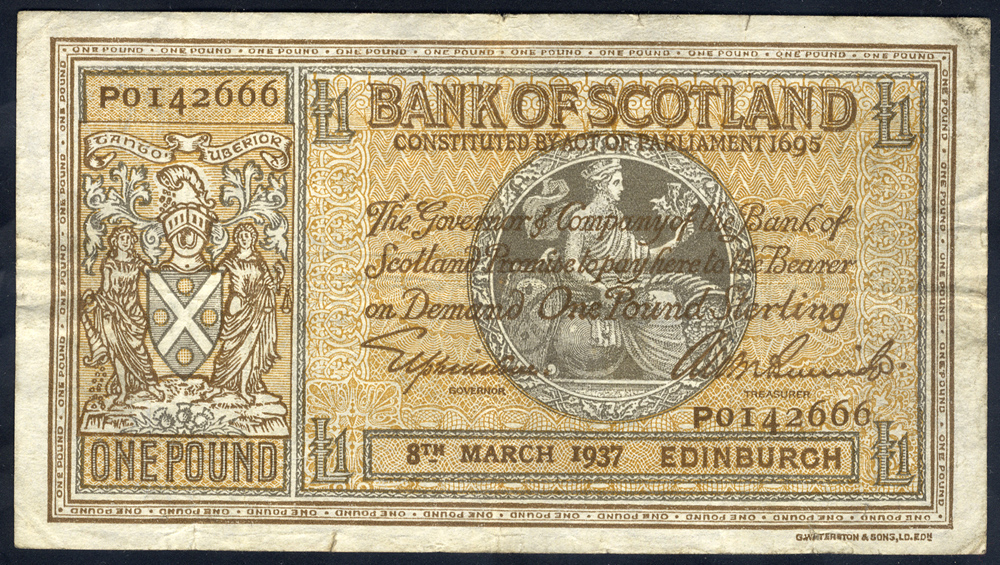 Bank of Scotland £1, dated 8th March 1937 series PO142666, Pick 91a, fine.