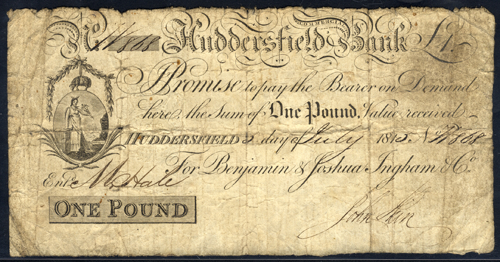 Huddersfield Commercial Bank £1, dated 1815, No. W868 for Benjamin & Joshua Ingham & Co, Outing 1004b, about fine.