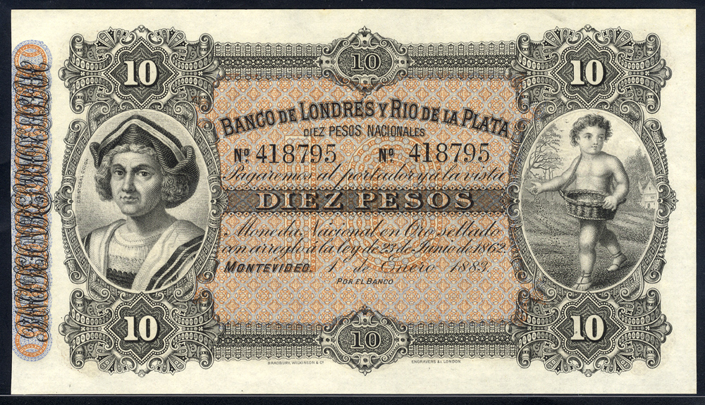 Uruguay 10 pesos, 1883 Banco De Londres Y Rio De La Plata, unsigned remainder, Pick S242R, about UNC to UNC.