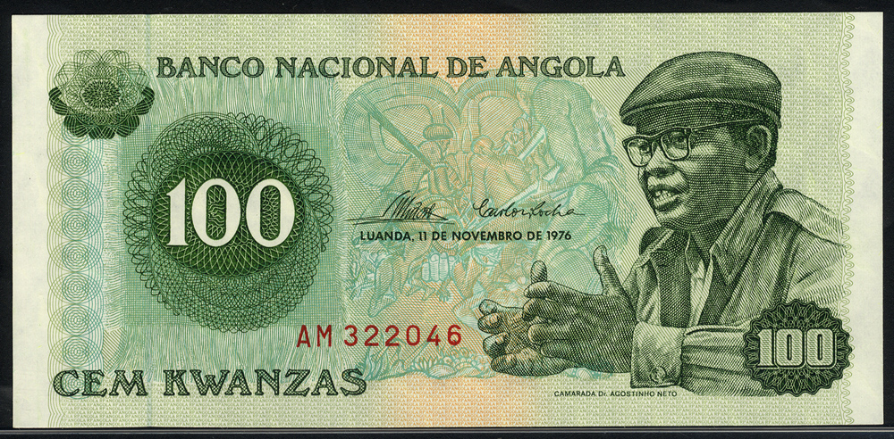 Angola 100 Kwanzas, 1976 series AM322046, Pick 111a, UNC.