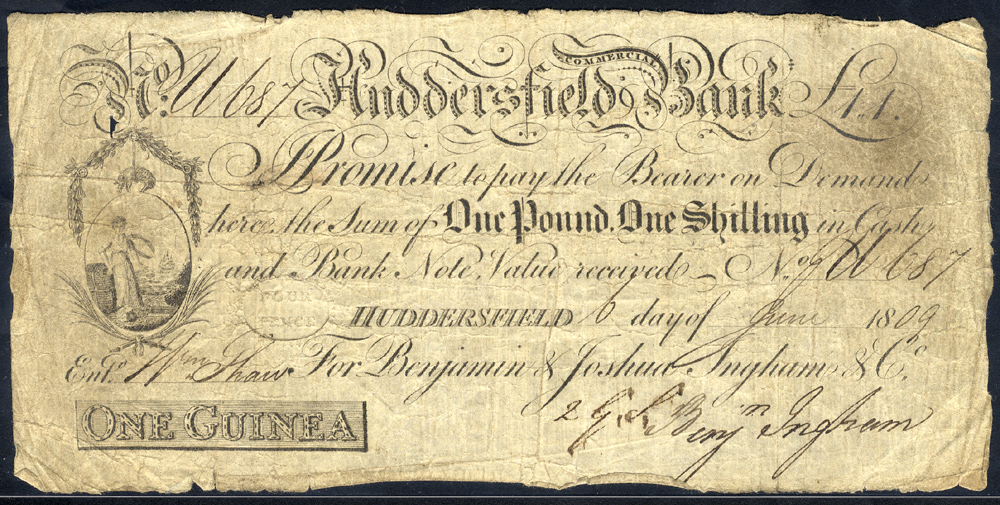 Huddersfield Commercial Bank 1 guinea, dated 1809 for Benjamin & Joshua Ingham & Co