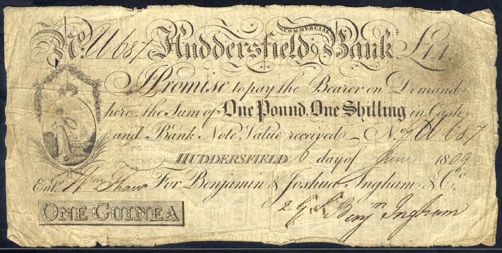 Huddersfield Commercial Bank 1 guinea, dated 1809 for Benjamin & Joshua Ingham & Co