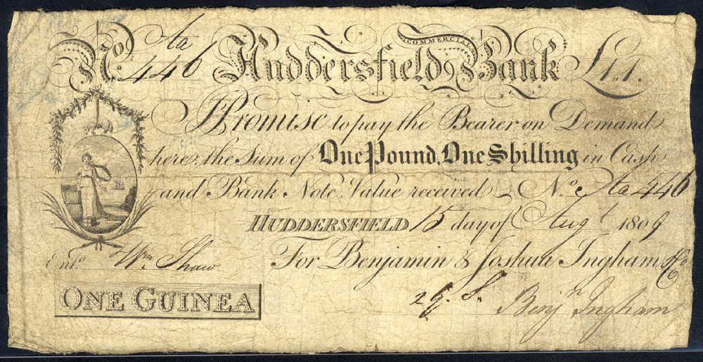 Huddersfield Commercial Bank 1 guinea, dated 1809, No. Aa446 for Benjamin & Joshua Ingham & Co