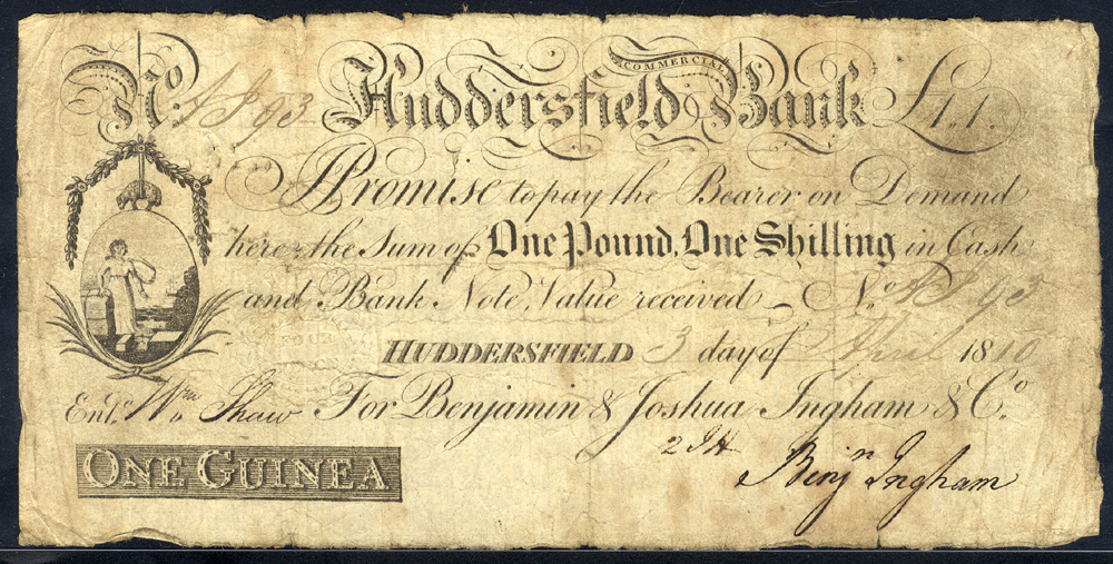 Huddersfield Commercial Bank 1 guinea, dated 1810 for Benjamin & Joshua Ingham & Co