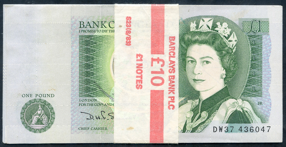 Somerset £1 x 10 consecutive numbers B341 with Barclays Bank wrapper, Pick 377b, UNC.