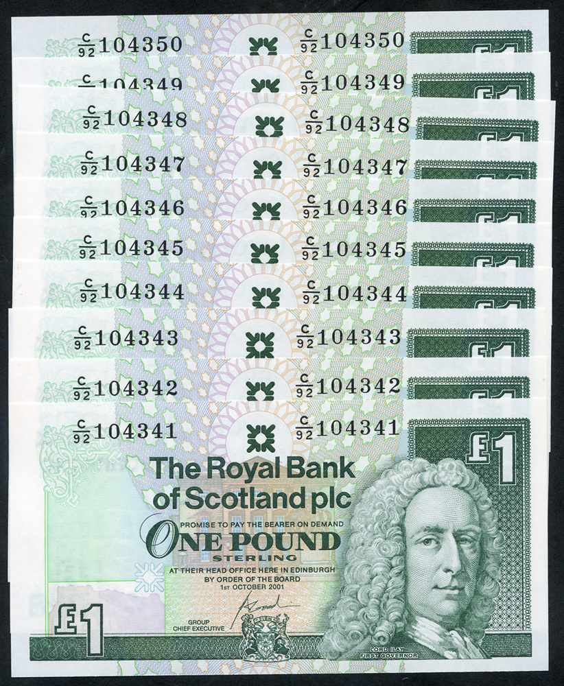 Royal Bank of Scotland Plc £1 x 10 consecutive numbers, Pick 351e, UNC.