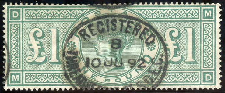 1891 £1 green MD, VFU example with central upright registered date stamp