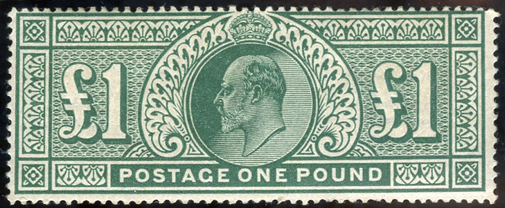 1911 Somerset House £1 deep green, fine M