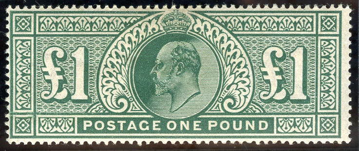 1911-13 Somerset House £1 deep green, fresh M