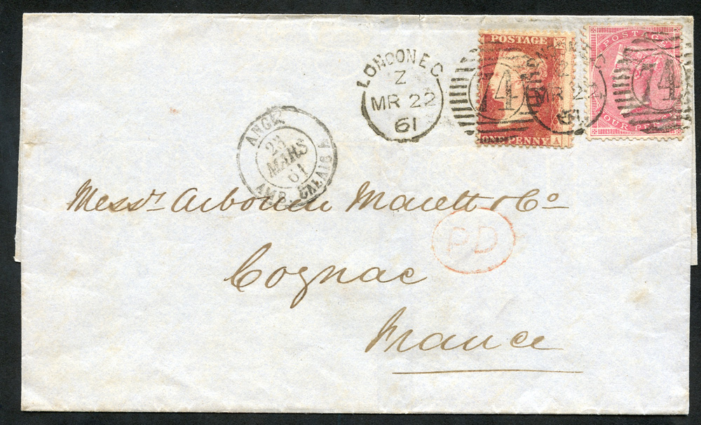 1861 cover from London to Cognac, France, 1d red Stars & 4d Large Garter, London duplexes