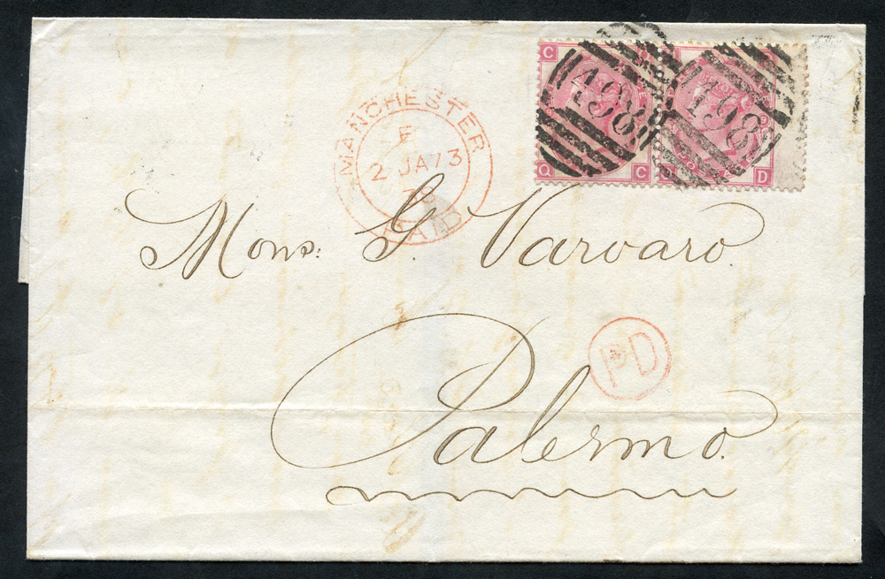 1873 cover to Palermo, franked 3d rose Pl.9 (horizontal pair), tied barred oval numerals '498' for Manchester