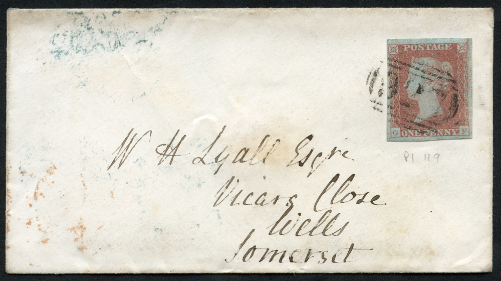 1841 envelope from Yarmouth to Wells, Somerset, franked 1841 1d red Plate 119 GF