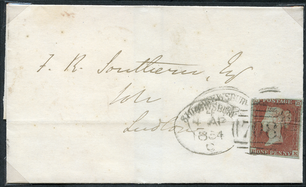 1854 cover from Shrewsbury to Ludlow, franked 1841 1d red Plate 162 HK