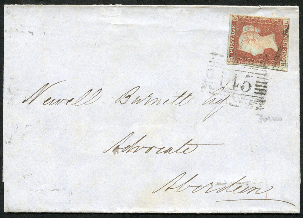 1850 1d red brown Plate 102 QL on cover from Forres to Aberdeen