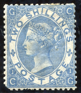 1867-80 2s milky blue unused/re-gummed example. Rare stamp!