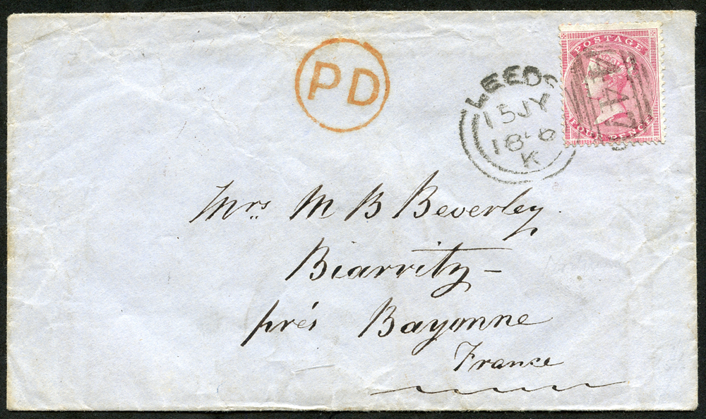 1856 envelope Leeds to Bayonne, France, 4d carmine Medium Garter