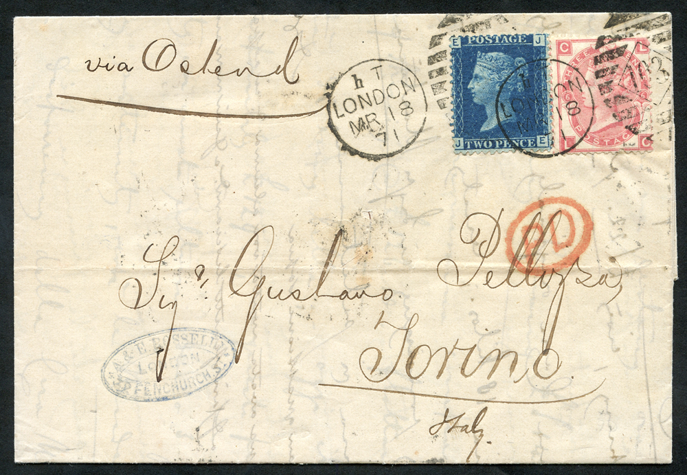 1871 cover London to Torino, Italy, 2d Plate 13 (SG.47) & 3d Plate 6 (SG.103)