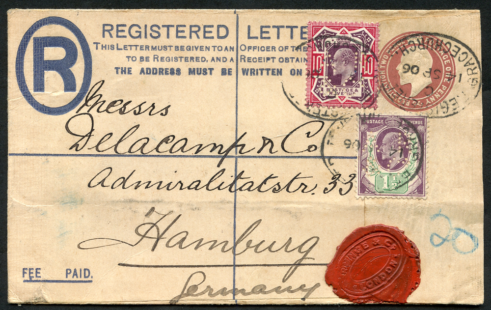 1906 reg envelope London to Hamburg, uprated 1½d & 10d Edwards, both perfined A.R & Co.
