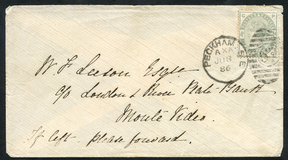 1886 envelope - Peckham to Monte Video, Uruguay, 4d dull green