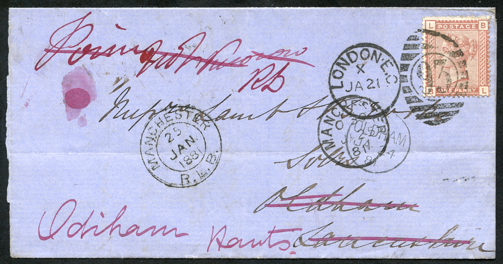 1881 wrapper from London to Oldham, re-directed to Odiham, Hants, 1d Venetian red