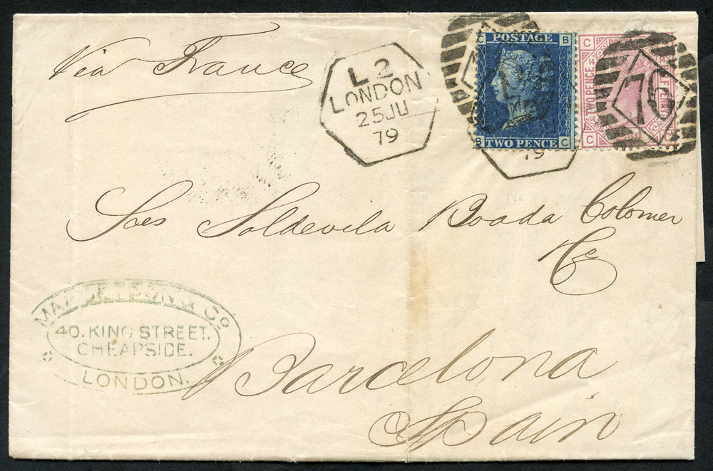 1879 cover London via France to Barcelona, 2d blue Plate 15 & 2½d rosy mauve Plate 14