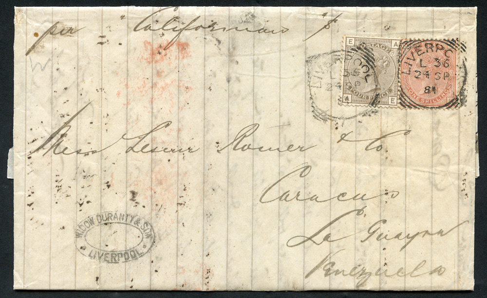 1881 cover from Liverpool to Curacao, La Guayana, Venezuela, 4d grey brown Plate 17 & 1s orange brown Plate 13
