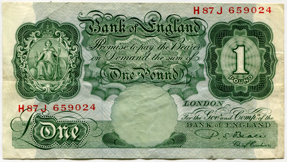 1950 Beale £1 green, VF+