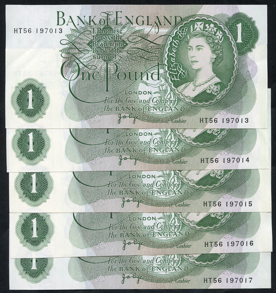 1960-79 Page £1 green, consecutive run of five, A/UNC