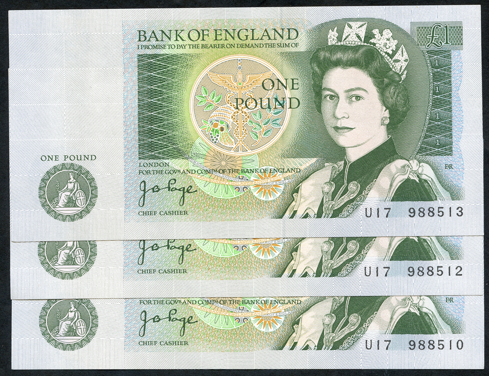 1978 Page £1 green, consecutive pair + single prefix
