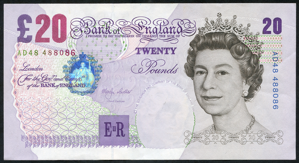 1999 Lowther £20 purple & black, A/UNC