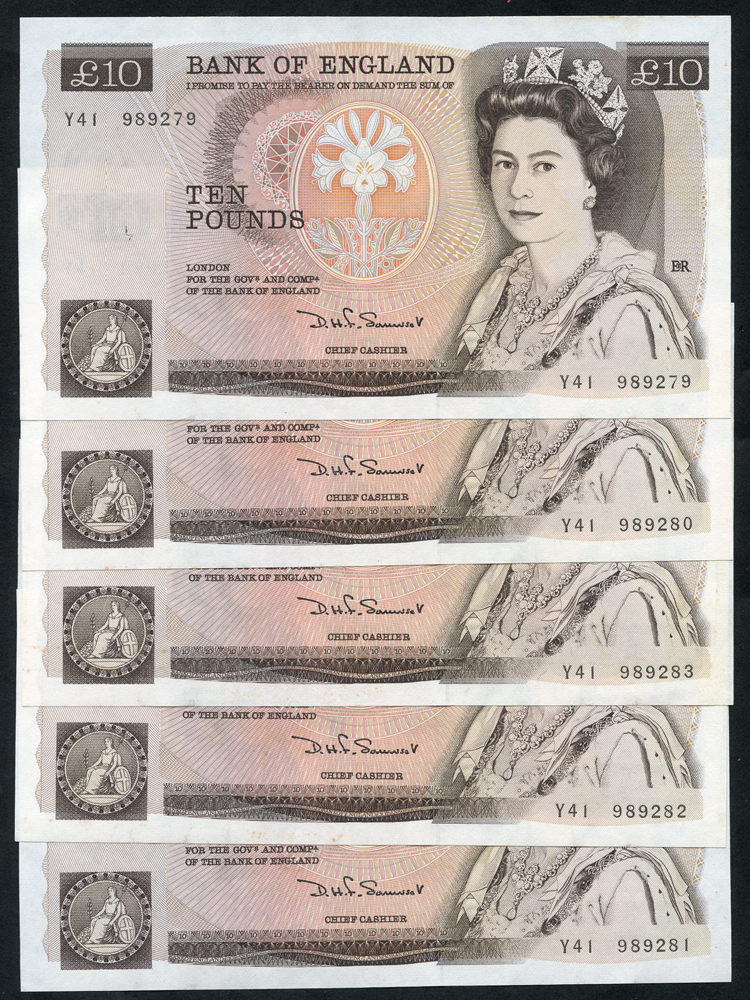 1980 Somerset £10 brown, five consecutive numbers, A/UNC