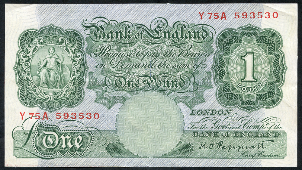 1948 Peppiatt £1 green (threaded), EF