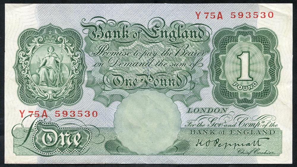 1948 Peppiatt £1 green (threaded), EF