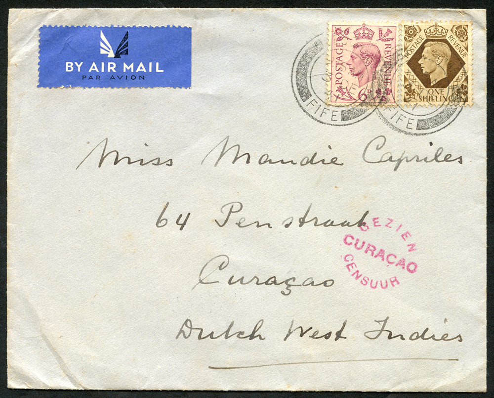 Netherlands (Antilles) 1941 cover franked 6d+1s to Dutch West Indies